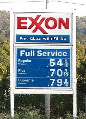 the price of gas in 1976 .... and this is where most of those weird drinking glasses in antique shops came from.