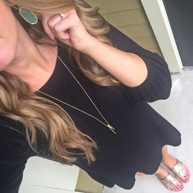 As Told by Stacy | Kendra Scott green earrings, Gorjana gold necklace, rocksbox, black shift dress, gold Jack Rogers, outfit