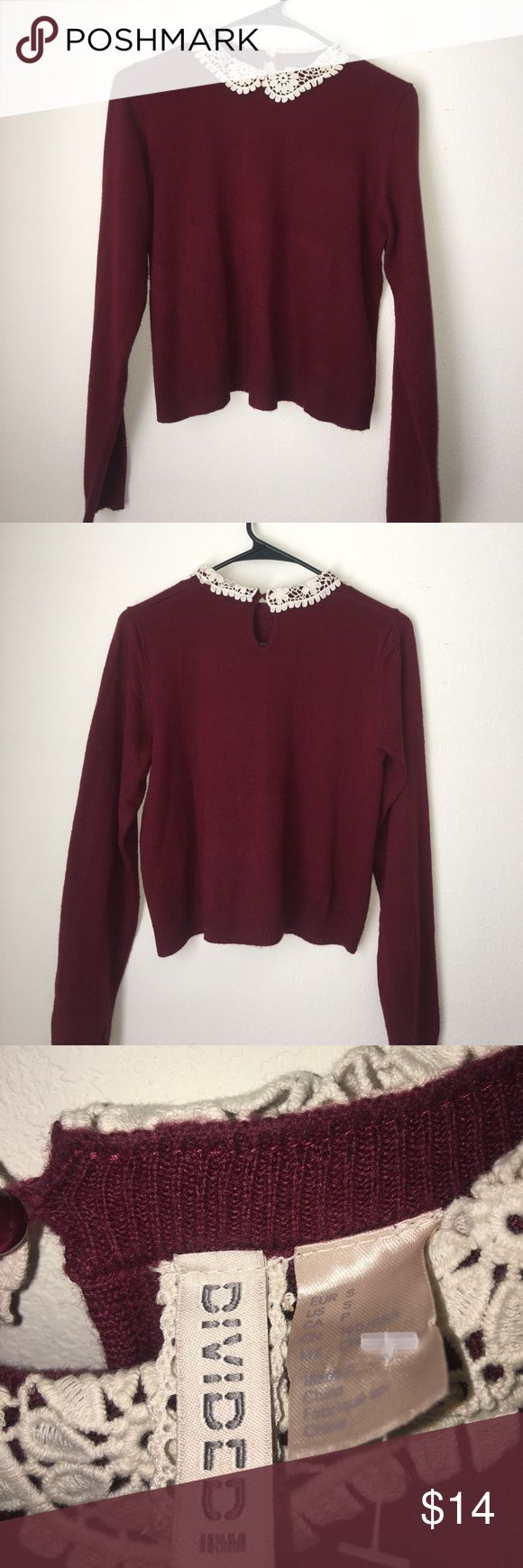 Maroon Sweater with Lace Collar Maroon sweater with cream Lace collar. Open  to offers! H&M Sweaters Crew & Scoop Necks