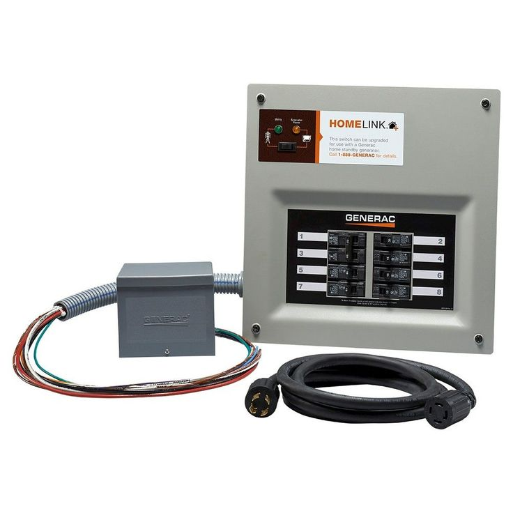 Generac HomeLink Upgradeable 30 Amp Transfer Switch Kit with 10' Cord and Resin Power Inlet Box, Grey