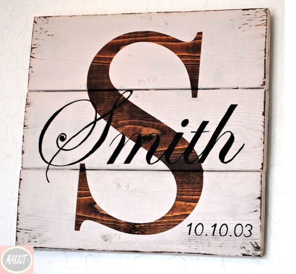 Rustic Distressed Pallet Wood Personalized Family Sign with Family Initial and Last Name / Shelf Sign/ Personal Wedding /Anniversary Sign by Makkit on Etsy