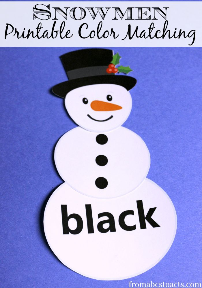printable color matching snowmen colors and snowman. Black Bedroom Furniture Sets. Home Design Ideas