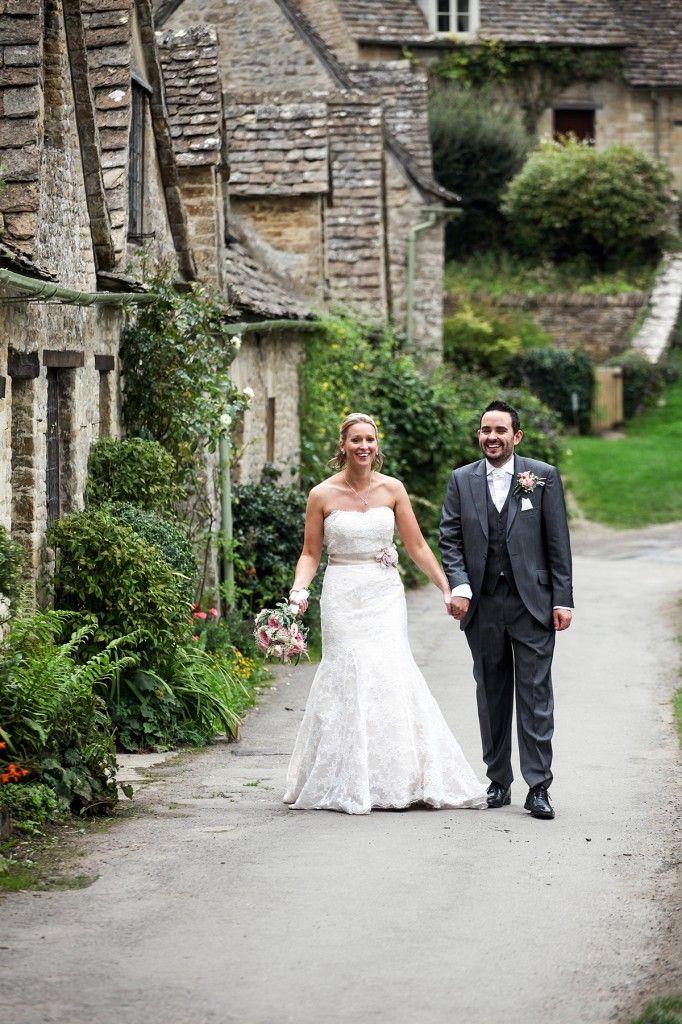 Bride and Groom's wedding photos at Arlington Row in Bibury