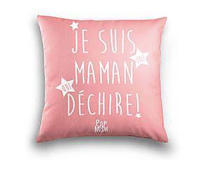Coussin MAMAN QUI DÉCHIRE coton, rose et blanc - 40*40