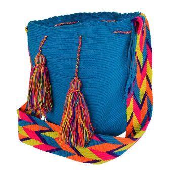 Mochila Wayuu azul esmeralda