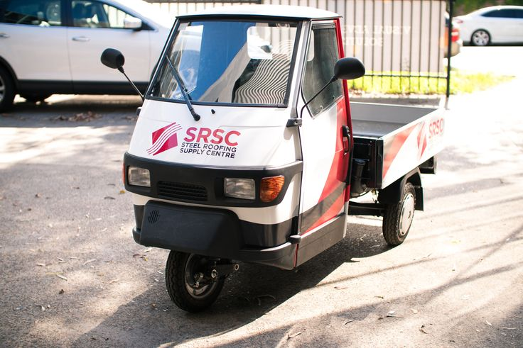 We don't always get glamorous cars. Sometimes we get odd vehicles, such as this little tricycle that belongs to the Steel Roofing Supply Centre.