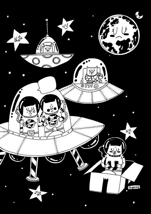 Space CatsMore drawings by me at www - from @adrianserghie on Ello.