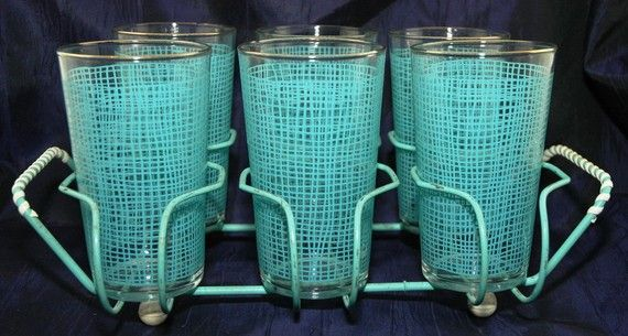 Vintage Drinking Glasses with Rack  Aqua  by MyHeirloomCharms