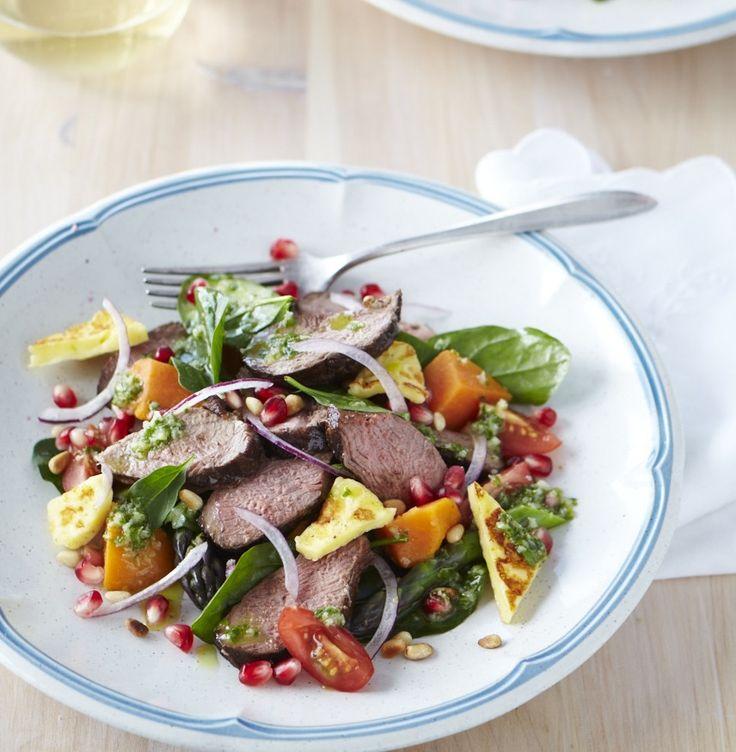 Balsamic lamb & pomegranate salad recipe: http://chelseawinter.co.nz/balsamic-lamb-salad/