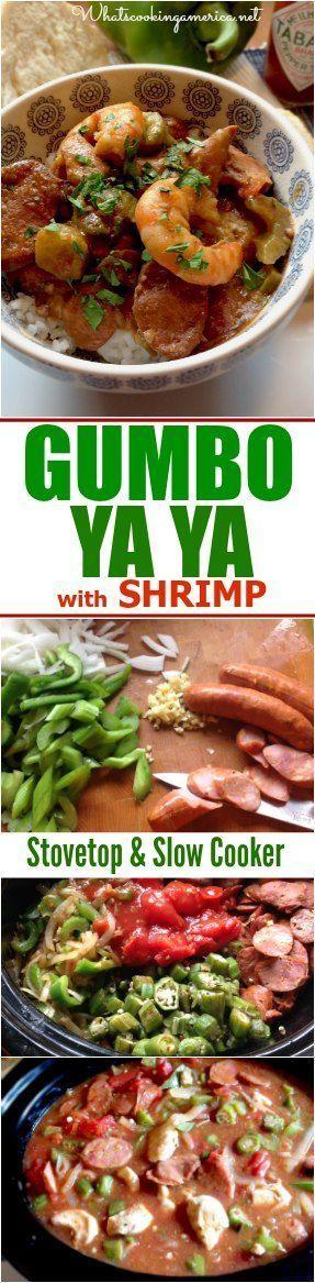 Stove Top & Slow Cooker Instructions  |  whatscookingameri...  |  #gumbo #yaya #neworleans #mardigras #slowcooker #crockpot #shrimp