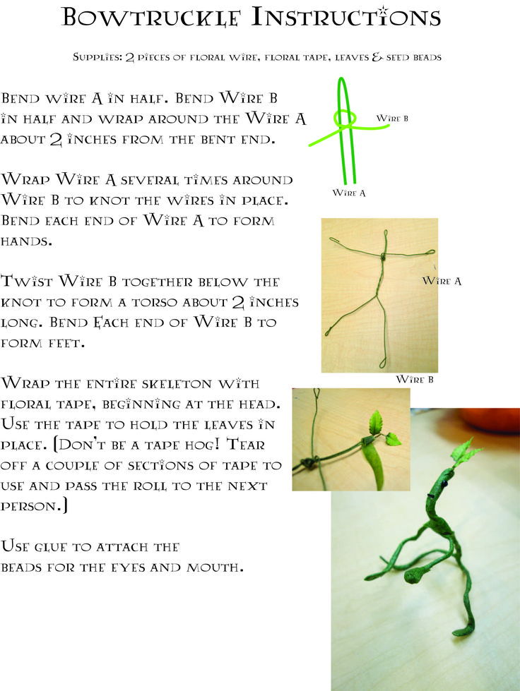 Fantastic Beasts and Where to Find Them Party - Pflugerville Public Library - Bowtruckle craft instructions.
