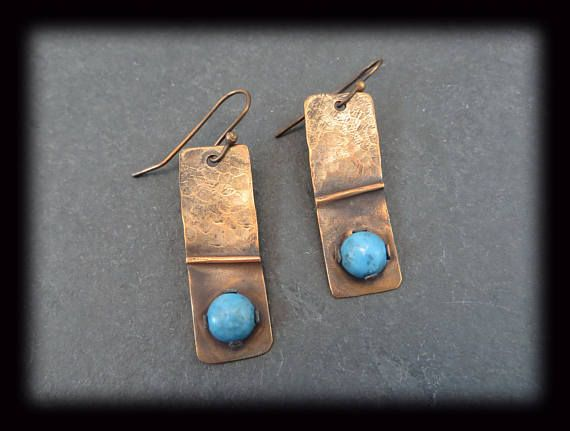 Copper Turquoise Earrings Hammered and Fold Formed with Tab Set Stone