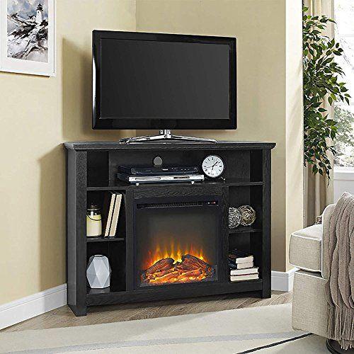 We Furniture 44 Inch Wood Corner Highboy Fireplace Tv Stand