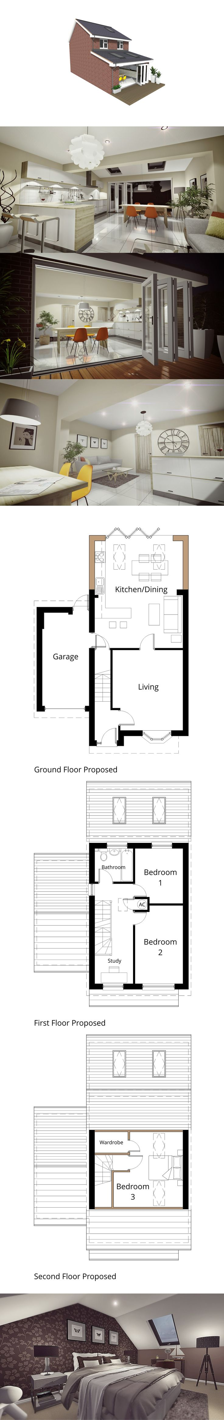 This house was remodelled to allow for a small rear single storey extension to create a dream open plan kitchen with bi-fold doors out to the garden, whilst upstairs contains a study and a loft bedroom. #Swindon #Extension #Loftconversion #floor #plans