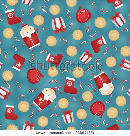 Vector seamless Christmas pattern background with Santa Claus, gift sack, gingerbread cookies, red sock, gift box and candy stick - stock vector
