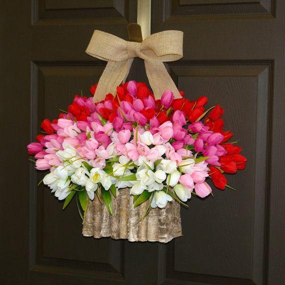 spring wreath Valentine's day wreaths birch bark by aniamelisa