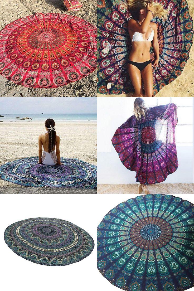 [Visit to Buy] Peacock Bedding Outlet Round Beach Towel Fire Mandala Chiffon Beach Swim Towels Bohemia Bain Para Playa Toallas #Advertisement
