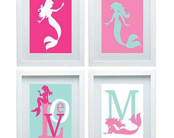 mermaid baby shower wreath | Mermaid Nursery Decor Print Girl Room Decor Baby Bathroom Art Pink ...