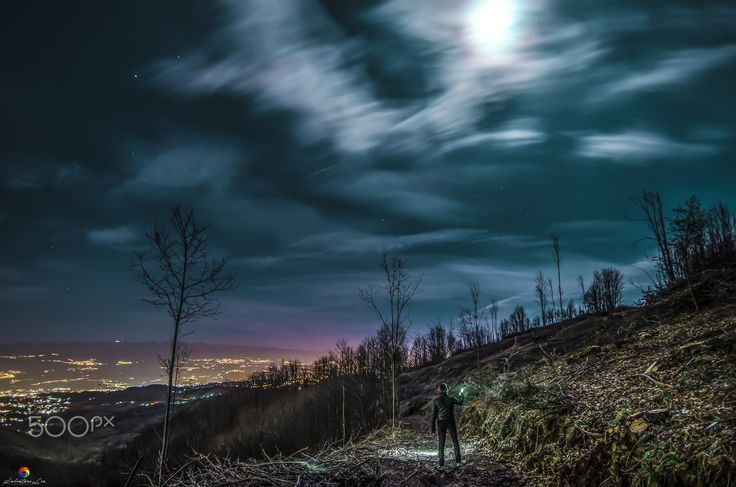 With the moon!! - Italy ©2016- San Fili-Calabria NightScape Art.  Visit my page and like it: https://www.facebook.com/Salvatore-Lio-Photography-1734968443388471/?ref=aymt_homepage_panel