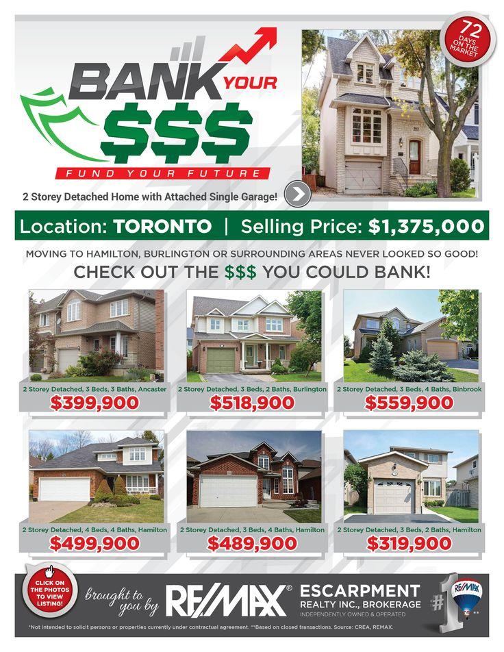 Bank Your $$$: FUND YOUR FUTURE Do you enjoy saving money? Perhaps leaving the GTA where pricing is outrageous and moving to the Hamilton/Burlington or a Surrounding Area where pricing is more reasonable is just the opportunity for you and your family! Check out some of our current listings to see the comparison and the $$$ you could BANK!!! If these homes are NOT in your price range, then check out www.whatchagetfor... to find homes within your budget.