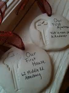 Key ornaments. Would be nice for children from home they were born in, first car, etc...and then give the ornaments to them when they have their first home or on their wedding day.