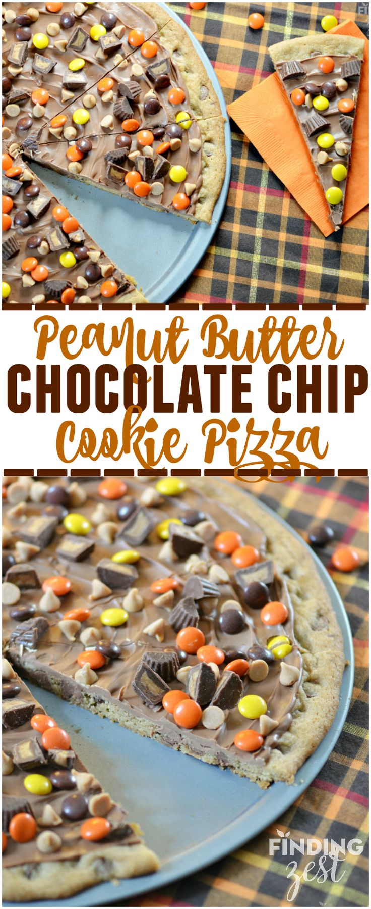 This Peanut Butter Chocolate Cookie Pizza features a chewy chocolate chip cookie base and is topped with peanut butter candies and chocolate! It is sure to impress a crowd!