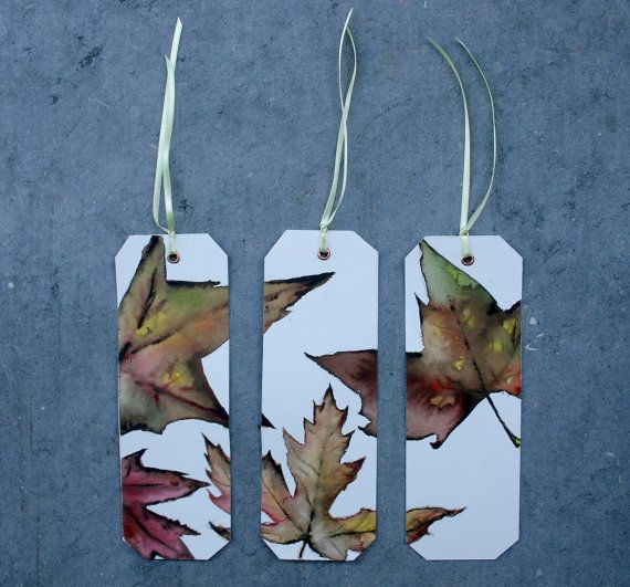 3 Bookmarks Originals watercolors Autumn leaves by SilviaCairol, €15.00