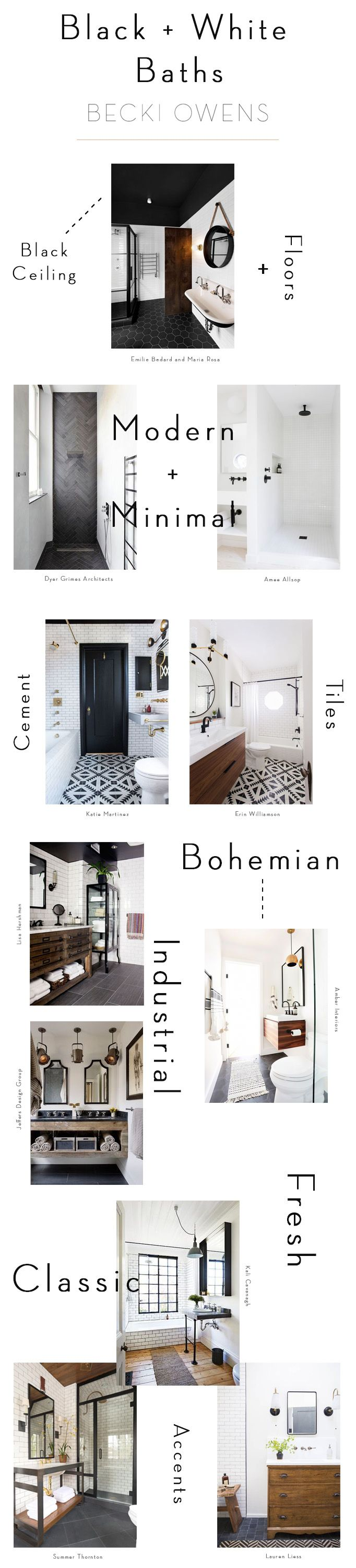 Bold, beautiful, edgy black one of my favorite colors to work with. Lately, I've been drawn to inspiration with black details, and I feel like the month of October is the perfect time to spotlight the role of black in design. When paired with white, it becomes polished and refined. The combination is stunning in bathrooms, kitchens and living spaces. For today, I put together a black+white roundup of some of my favorite bathroom spaces.