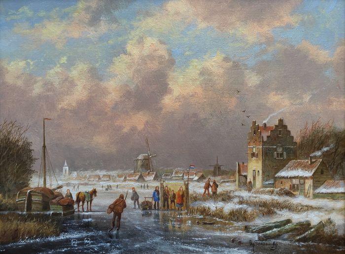 Albertus J. Temming (1942-) - Hollands winterlandschap op de rivier met molen en koek en zopie  Hollands winterlandschap op de rivier met molen en koek en zopie - olieverf op linnen - gesigneerd rechts onder en op de achterkant. Eenl mooi sfeervol exemplaar in het formaat 30 x 40 van deze zeer ondergewaardeerde schilder. Buiten zijn altijd precieze stijl van schilderen in solide compositie is dit zeer sfeervolle schilderij zoals we gewend zijn een mooi voorbeeld van de prachtige luchten die…