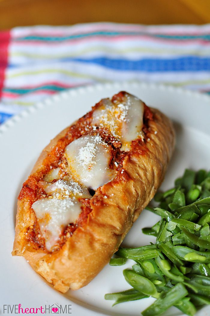 Slow Cooker Meatball Sub Sandwiches ~ meatballs cook up in the crock pot to top tasty and effortless subs   {Five Heart Home}