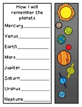"""""""How I Will Remember the Planets"""" page--Teach students about using a mnemonic device to remember information, and let them create their own (ex: My Very Excellent Mother Just Served Us Nachos). FREE on TpT"""