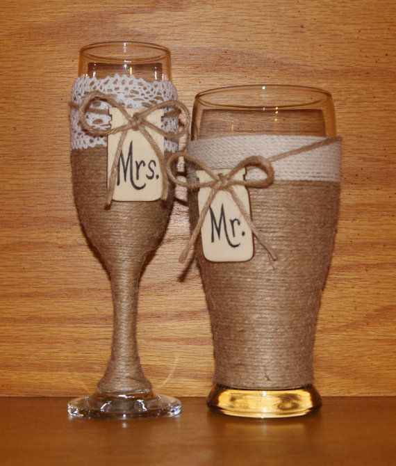Wedding Champagne Glasses / Woodland by CarolesWeddingWhimsy, This is my second sale today of a Rustic Wedding Champagne Flute and Beer Glass.  No worries. I have many more.  They can be found here https://www.etsy.com/listing/238625748/wedding-champagne-glasses-woodland