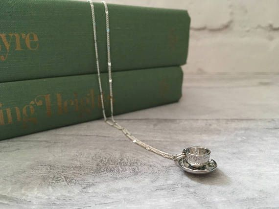 Tea cup charm necklace by The Dorothy Days. Perfect for a gift for a tea or coffee lover!