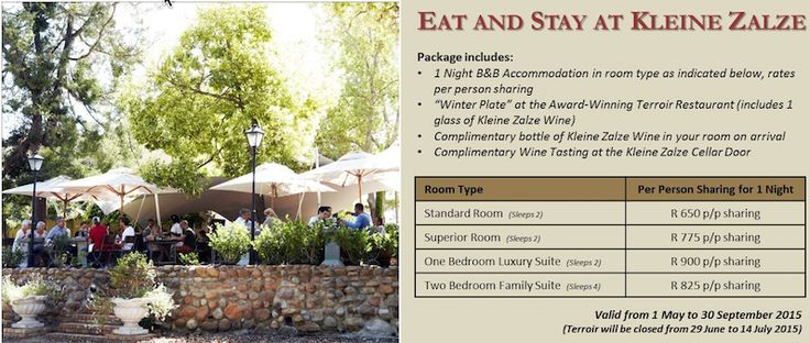The Winter Special is BACK - Eat & Stay at the Kleine Zalze Lodge.