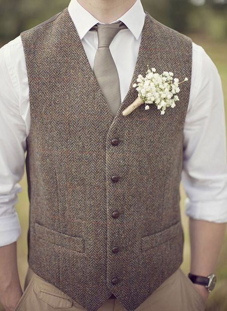2015 Tweed vests custom made Groom vest mens 3 piece suits slim fit tailor made wedding vests for men