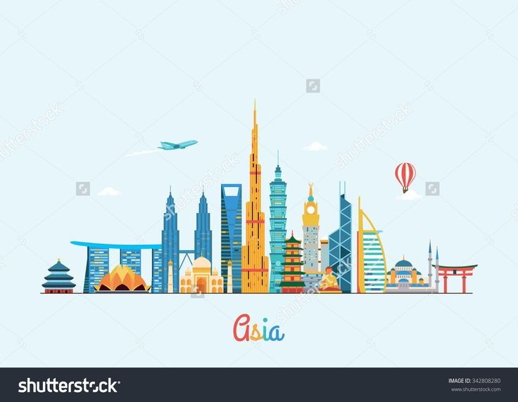 Asia Skyline. Travel And Tourism Background. Stock Photo 342808280 : Shutterstock
