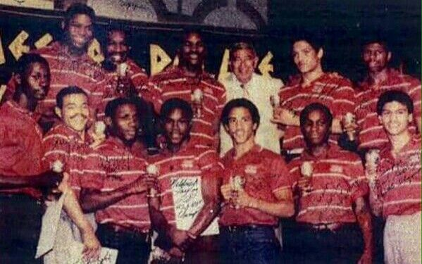 1984 U.S. Olympic boxing team with Howard Cosell. Tyrell Biggs, Henry Tillman, Evander Holyfield, Virgil Hill, Frank Tate, Mark Breland, Jerry Page, Pernell Whitaker, Meldrick Taylor, Robert Shannon, Steve McCrory and Paul Gonzalez.