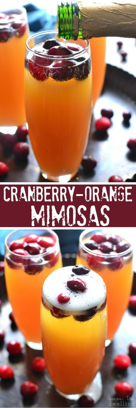 These Cranberry-Orange Mimosas are deliciously sweet and perfect for a celebration!