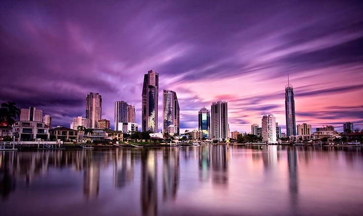 Sunset over the well known tourist destination Surfers Paradise on the Gold Coast, Australia