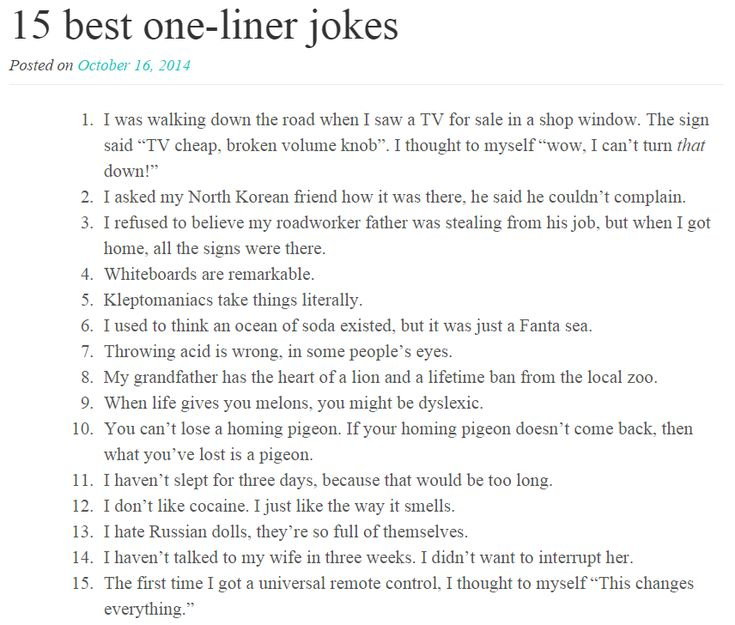 15 Best One Liner Jokes Funny Stuff Pinterest Jokes