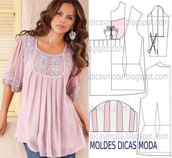 10 модных блузок с выкройками