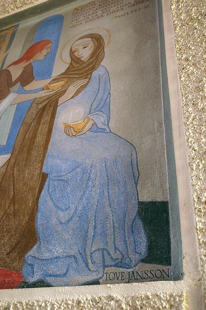 Teuva Church mural (1953) - 'The Wise and Foolish Virgins' by Tove Jansson photo by Tiina Rantakoski, via Flickr