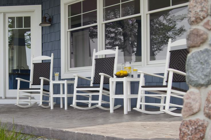 Woven rocking chairs made form recycled plastic are perfect for your front porch this summer.