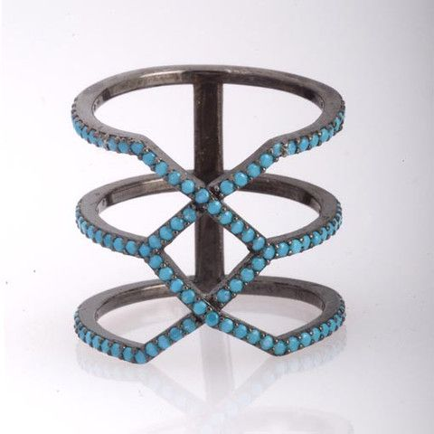 Rhodium Plated Silver Long Ring WithTurquoise Cubic Zirconia