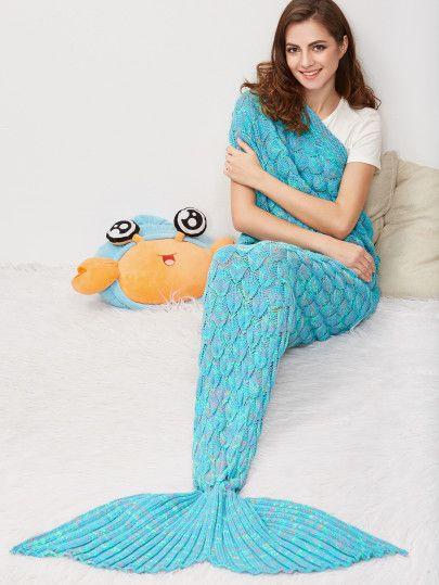 Blue Marled Fisch-Skala Stricken Mermaid Tail Decke