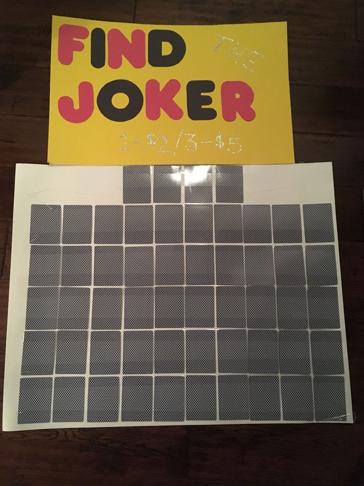 Buy a brand new deck of cards and tape all 52 of them face down on a poster board. Let guests buy cards, writing their names on the back of the ones they choose with a marker. When all the cards are taken or the night is winding down, flip them over. Each person with their name on a joker gets a prize!