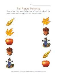printable fall picture matching - lots of free printables!
