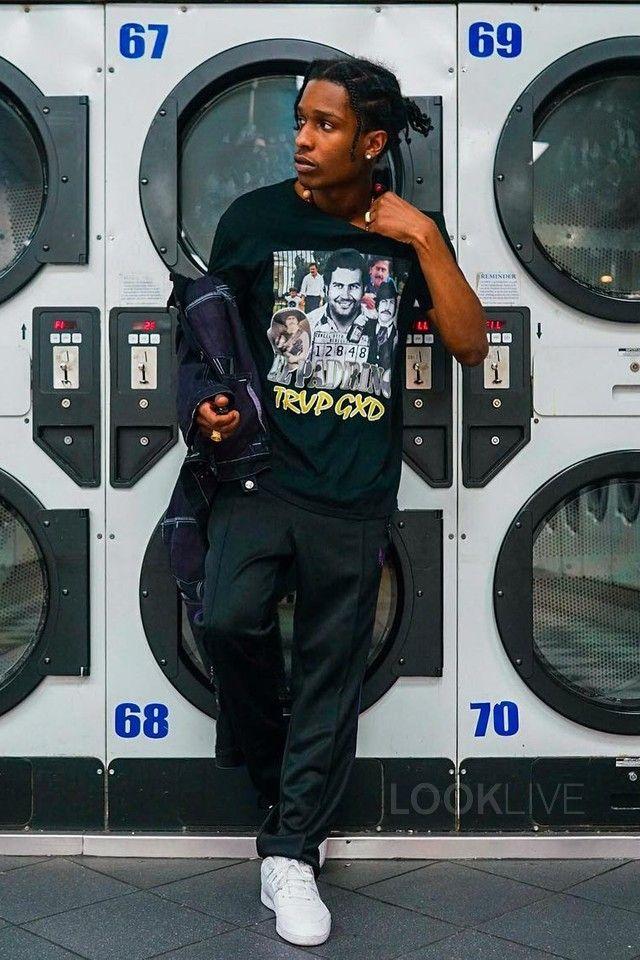 ASAP Rocky wearing  Fan Merchandise Escobar T-Shirt, Needles Narrow Track Pants