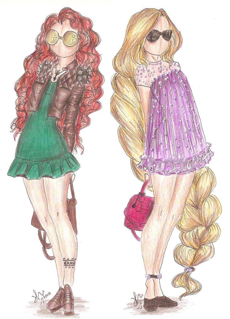Disney Princess Fashion   Merida and Rapunzel by VianaDrawings.deviantart.com on @deviantART