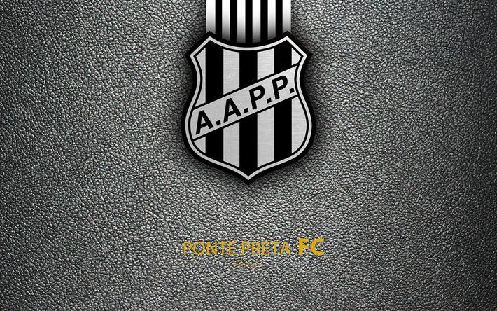Download wallpapers Ponte Preta FC, 4K, Brazilian football club, Brazilian Serie A, leather texture, emblem, logo, Campinas, Sao Paulo, Brazil, football